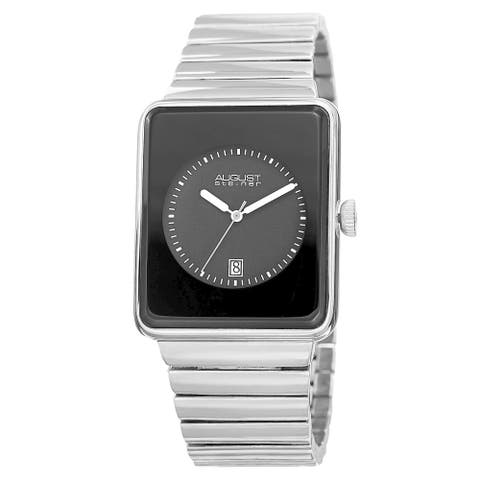 August Steiner Men's Classic Rectangular Case Quartz Silver-Tone Bracelet Watch - silver