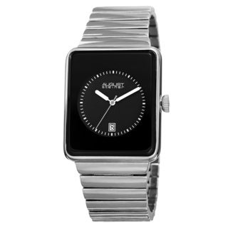 August Steiner Men's Classic Rectangular Case Quartz Silver-Tone Bracelet Watch
