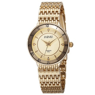 August Steiner Women's Quartz Roman Numerals Diamond Gold-Tone Bracelet Watch