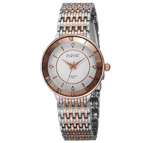 August Steiner Women's Quartz Roman Numerals Diamond Two-Tone Bracelet Watch