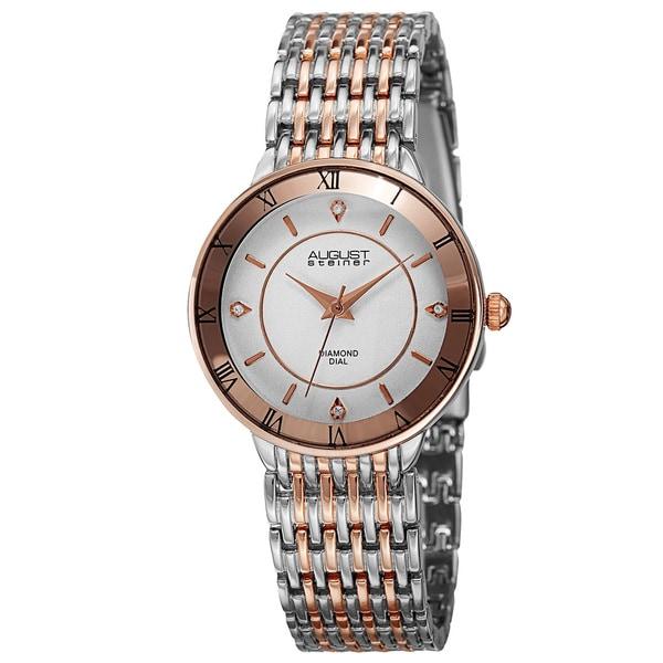 August Steiner Women's Quartz Roman Numerals Diamond Two-Tone Bracelet Watch. Opens flyout.