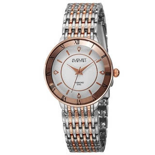August Steiner Women's Quartz Roman Numerals Diamond Two-Tone Bracelet Watch with FREE GIFT