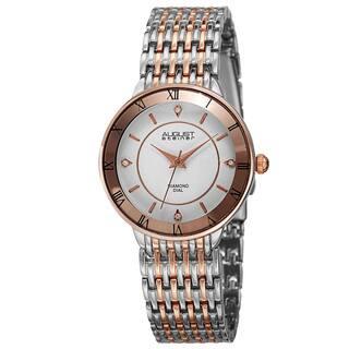 August Steiner Women's Quartz Roman Numerals Diamond Two-Tone Bracelet Watch with FREE GIFT https://ak1.ostkcdn.com/images/products/10194660/P17319412.jpg?impolicy=medium