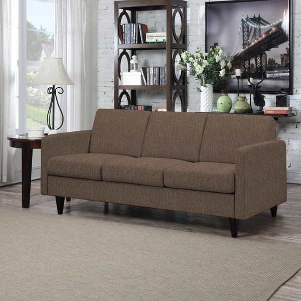 Handy Living Luca Chocolate Brown Linen SoFast Sofa