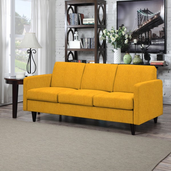 Shop Portfolio Luca Mustard Yellow Linen Sofast Sofa