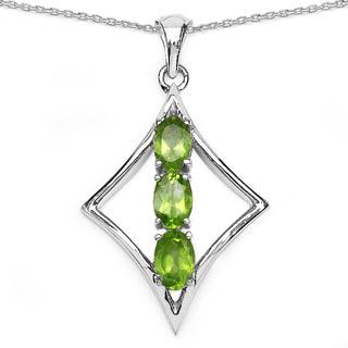 Malaika Sterling Silver 1 1/2ct Peridot Necklace