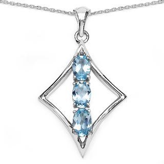 Malaika Sterling Silver 1 1/2ct Blue Topaz Necklace