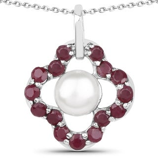 Malaika Sterling Silver 1 7/8ct Ruby and Pearl Necklace