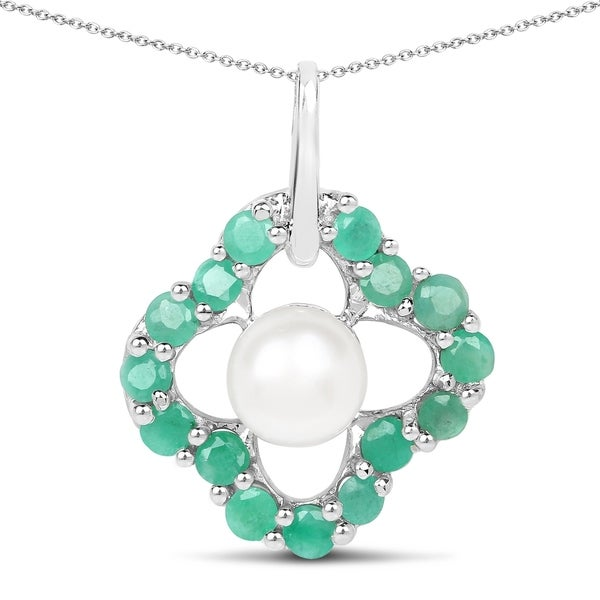 Malaika Sterling Silver 1ct Emerald and Pearl Necklace. Opens flyout.