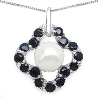 Malaika Sterling Silver 1 1/2ct Blue Sapphire and Pearl Necklace