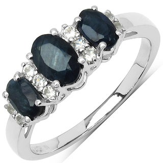 Malaika Sterling Silver 1 1/4ct Blue Sapphire and White Topaz Ring