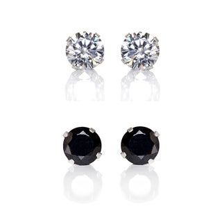 Sterling Silver Clear and Black 4-mm Cubic Zirconia 2-Pair Earring Stud Set