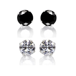 Sterling Silver Clear and Black 8-mm Cubic Zirconia 2-Pair Earring Stud Set