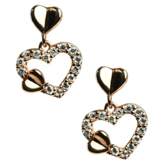 """Michael Valitutti Sterling Silver and Cubic Zirconia """"Heart"""" Earrings"""