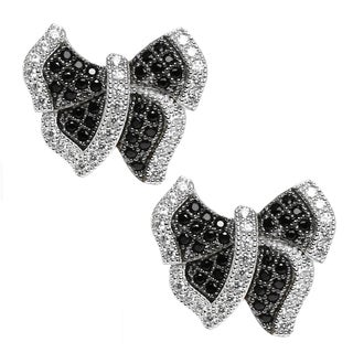 """Michael Valitutti Sterling Silver and Cubic Zirconia """"Butterfly"""" Earrings"""