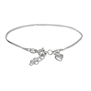 Pori Italian Sterling Silver Children's Dangle Heart Charm Box Chain Bracelet