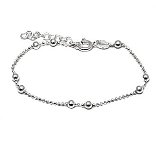 Pori Italian Sterling Silver Children's 2-ball Diamond-cut Chain Bead Bracelet