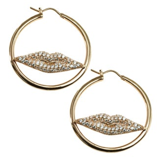 """Michael Valitutti Sterling Silver with Rose Gold Cubic Zirconia """"Lips"""" Earrings"""