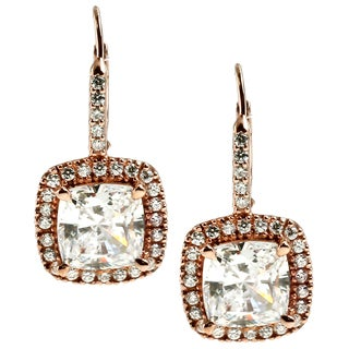 Michael Valitutti Sterling Silver with Rose Gold and Cubic Zirconia Earrings