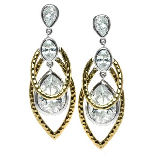 Michael Valitutti Two Tone Cubic Zirconia Earrings