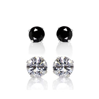Sterling Silver 4 and 8-mm Clear and Black Cubic Zirconia 2-Pair Earring Stud Set