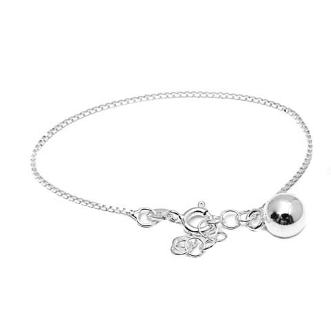 Pori Italian Sterling Silver Children's Dangle Ball Charm Box Chain Bracelet