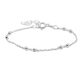 Pori Italian Sterling Silver Children's 2-ball Anchor Chain Bracelet