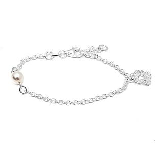 Pori Italian Sterling Silver Children's Pearl and Filigree Flower Charm Rolo Chain Bracelet