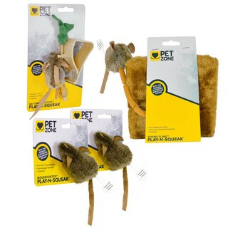 Pet Zone Assorted Play-N-Squeak Mouse Hunter and Friends (Pack of 4)