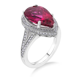 18k White Gold 1/2ct TDW Rubelite and White Diamond Bridal Ring (G-H, SI)