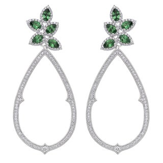 18k White Gold 1 1/2ct TDW Tsavorite and Diamond Earrings (G-H, SI)
