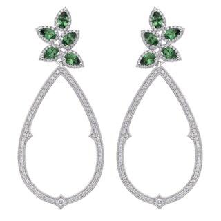 18k White Gold 1 1/2ct TDW Tsavorite and Diamond Earrings (G-H, SI)