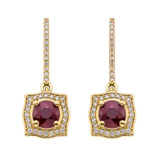 18k Yellow Gold 1/3ct TDW Ruby and White Diamond Earrings (G-H, SI)