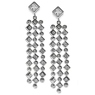 Michael Valitutti Sterling Silver Waterfall Drop Cubic Zirconia Earrings