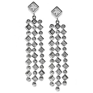 Michael Valitutti Sterling Silver Waterfall Drop Cubic Zirconia Earrings