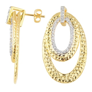 Oro Rosa 18K Yellow Gold Over Bronze with White Topaz Hammered Double Oval Drop Earrings