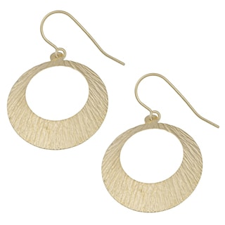 Fremada 10k Yellow Gold Textured Circle Dangle Earrings