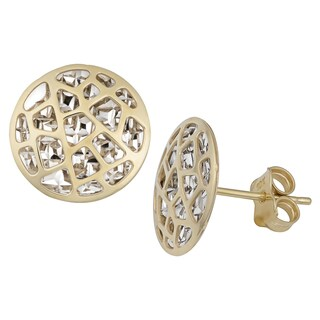 Fremada 10k Two-tone Gold Cut-out Design Round Statement Stud Earrings