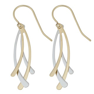 Fremada 10k Two-tone Gold High Polish Fancy Dangle Earrings