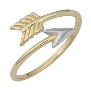 Fremada 10k Two-tone Gold Bypass Arrow Ring (Size 6 - 9)