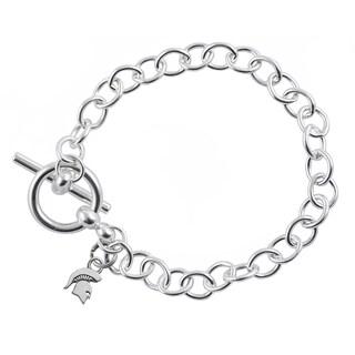Michigan State Sterling Silver Link Bracelet