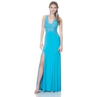 Bari Jay Women's Lace Bodice Halter Sheath Formal Dress (As Is Item)