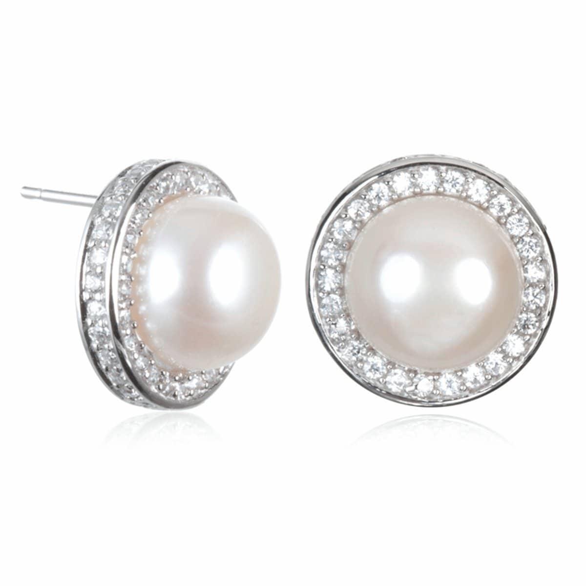 Rhodium Plated Sterling Silver Diamond Shape Stud Earrings