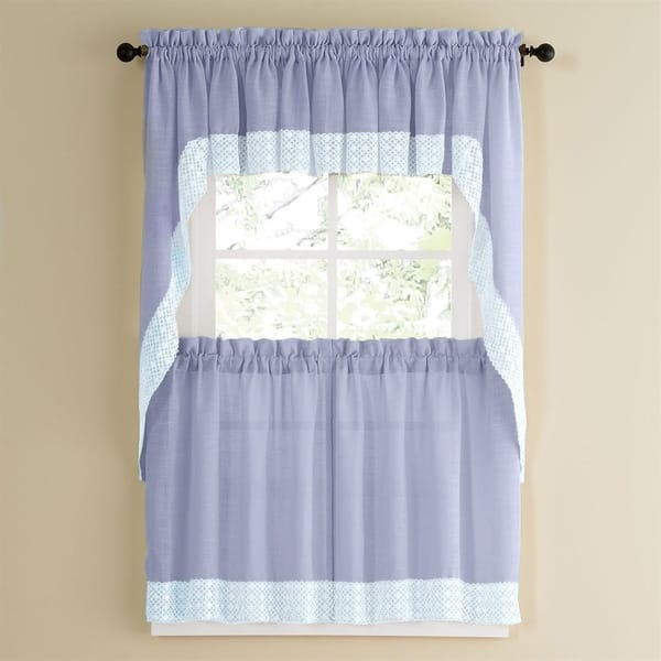 Shop Blue Country Style Kitchen Curtains With White Daisy