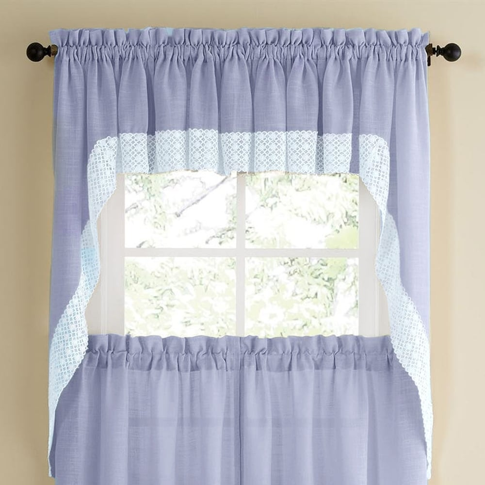 Shop Blue Country Style Kitchen Curtains with White Daisy-Lace Accent - 10195262