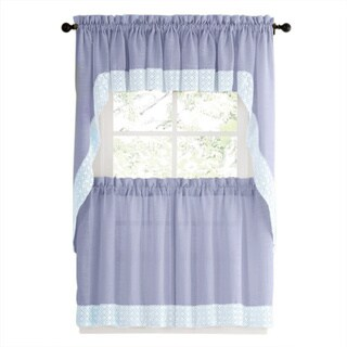 Blue Country Style Kitchen Curtains With White Daisy Lace Accent