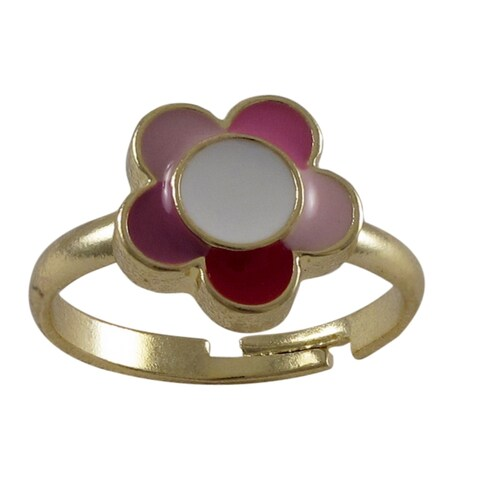 Gold Finish Children's Multi-color Enamel Flower Adjustable Ring