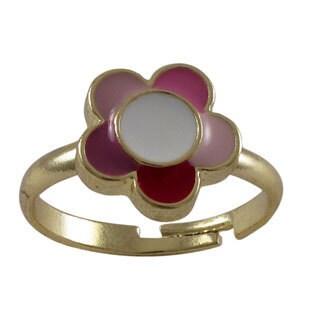 Gold Finish Children's Multi-color Enamel Flower Adjustable Ring