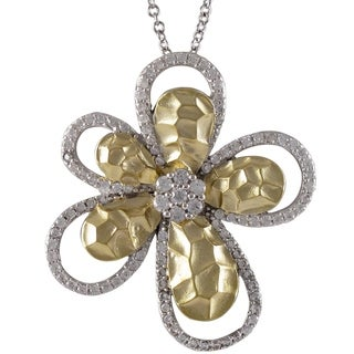 Luxiro Sterling Silver Gold Finish Cubic Zirconia Flower Pendant Necklace - White