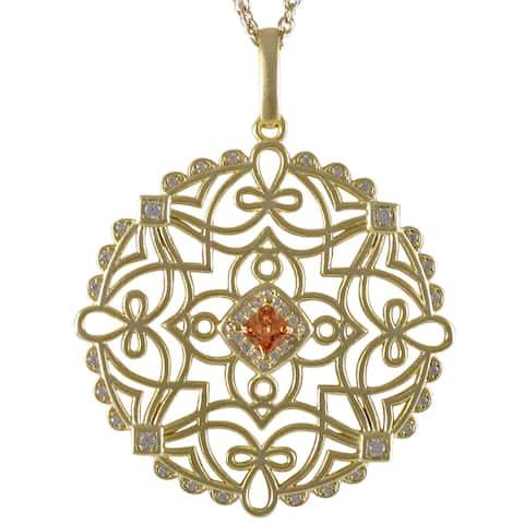 Luxiro Gold Finish Champagne Cubic Zirconia Celtic Circle Pendant Necklace - White